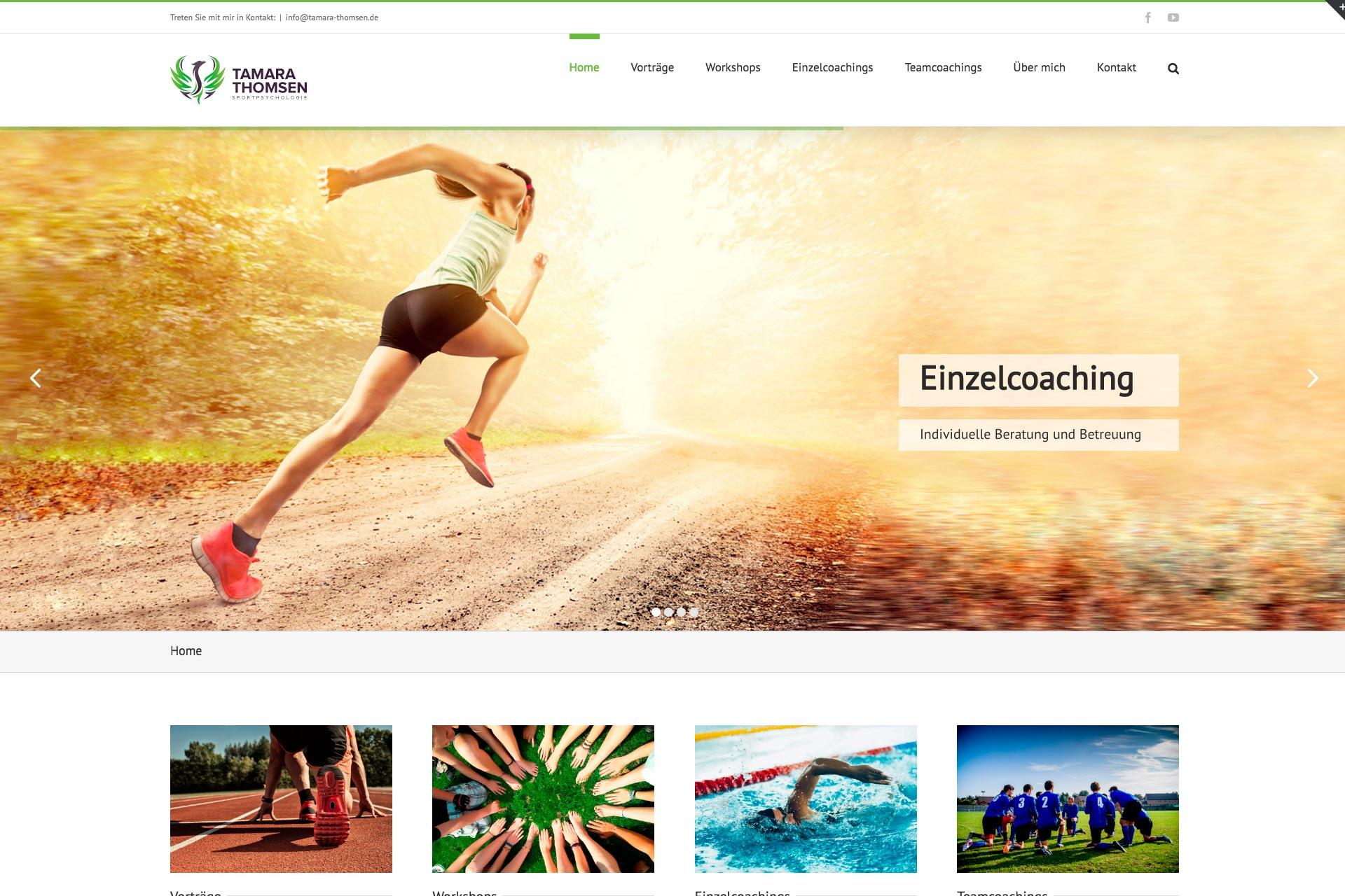 Website für Tamara Thomsen Sportpsychologie